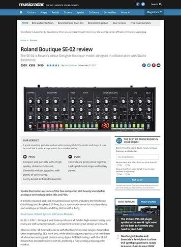 MusicRadar.com Roland Boutique SE-02