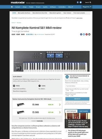 MusicRadar.com NI Komplete Kontrol S61 MkII