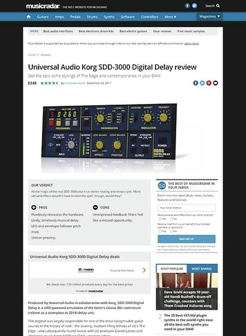 MusicRadar.com Universal Audio Korg SDD-3000 Digital Delay