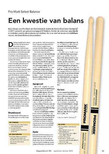 slagwerkkrant.nl Pro-Mark Select Balance stokken