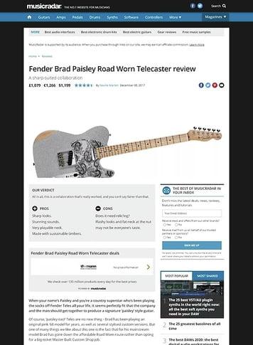 MusicRadar.com Fender Brad Paisley Road Worn Telecaster