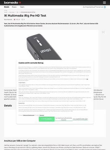 Bonedo.de IK Multimedia iRig Pre HD