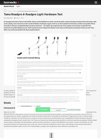 Bonedo.de Tama Roadpro & Roadpro Light Hardware