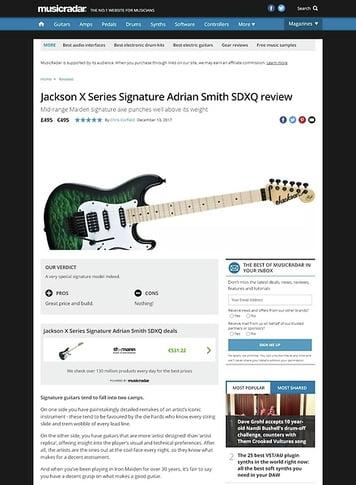 MusicRadar.com Jackson X Series Signature Adrian Smith SDXQ