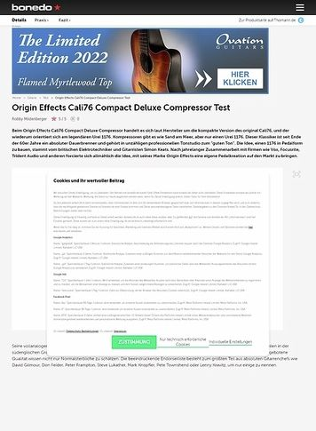 Bonedo.de Origin Effects Cali76 Compact Deluxe Compressor Test