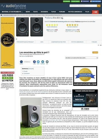 Audiofanzine.com PreSonus Eris E3.5