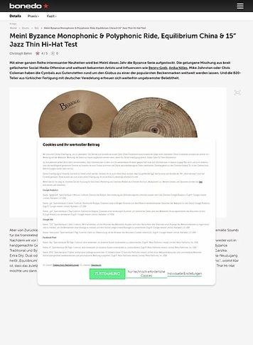 "Bonedo.de Meinl Monophonic & Polyphonic Ride, Vintage China & 15"" Jazz Hi-Hat"