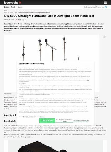 Bonedo.de DW 6000 Ultralight Hardware Pack & Ultralight Boom Stand