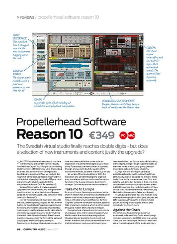 Computer Music Propellerhead Software Reason 10