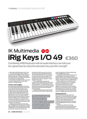 Computer Music IK Multimedia irig Keys I/O 49