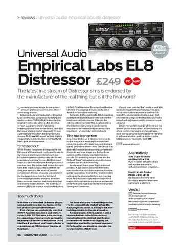Computer Music Universal Audio Empirical Labs EL8 Distressor