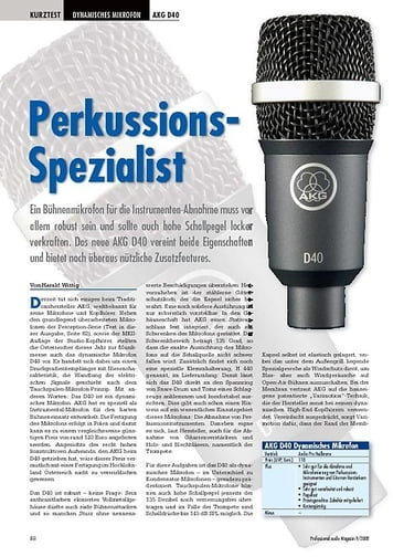 Professional Audio Perkussions- Spezialist AKG D40