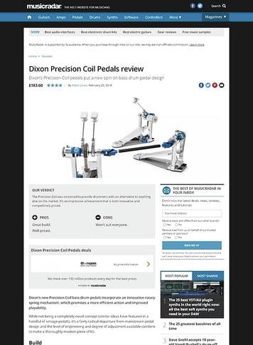 MusicRadar.com Dixon Precision Coil Pedals