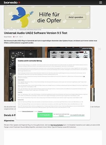 Bonedo.de Universal Audio UAD2 Software Version 9.5