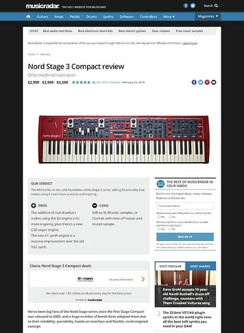 MusicRadar.com Nord Stage 3 Compact