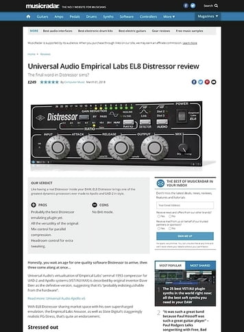 MusicRadar.com Universal Audio Empirical Labs EL8 Distressor