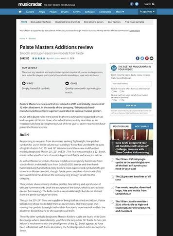 MusicRadar.com Paiste Masters Additions