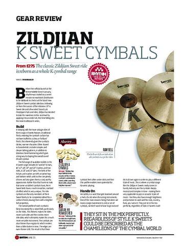 Rhythm Zildjian K Sweet Cymbals