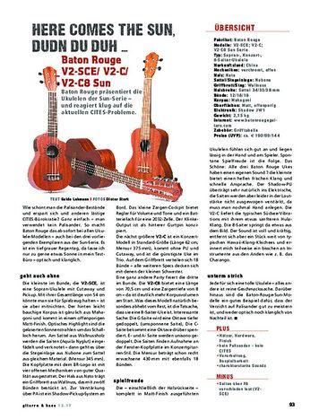 Gitarre & Bass Baton Rouge V2SCE, V2C & V2T8 Sun, Ukulelen