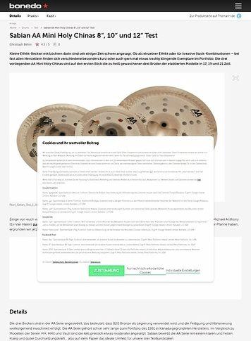 "Bonedo.de Sabian AA Mini Holy Chinas 8"", 10"" und 12"""