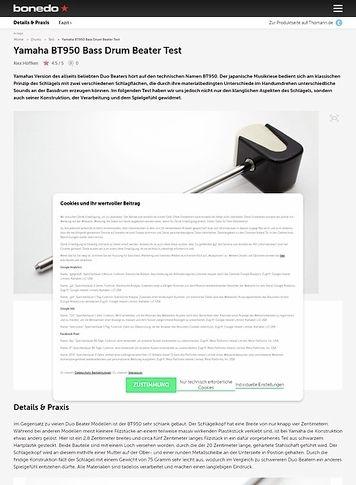 Bonedo.de Yamaha BT950 Bass Drum Beater