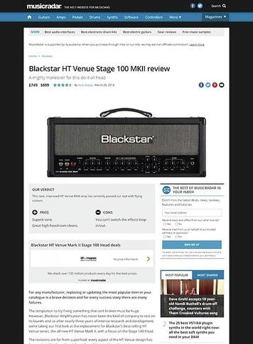 MusicRadar.com Blackstar HT Venue Stage 100 MKII