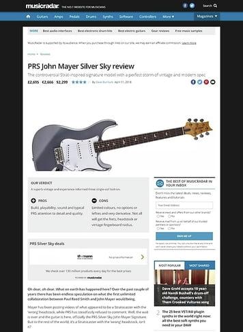 MusicRadar.com PRS John Mayer Silver Sky