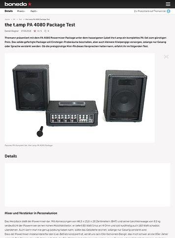 Bonedo.de the t.amp PA 4080 Package