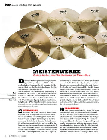 Sticks Paiste Masters Thin Cymbals