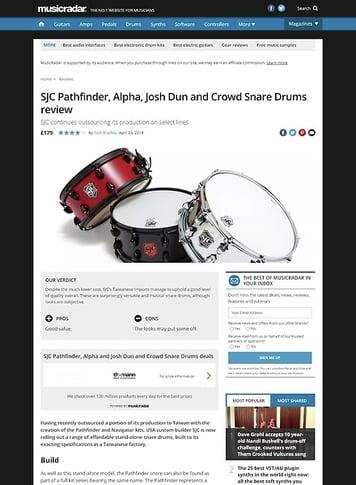 MusicRadar.com SJC Pathfinder, Alpha, Josh Dun and Crowd Snare Drums
