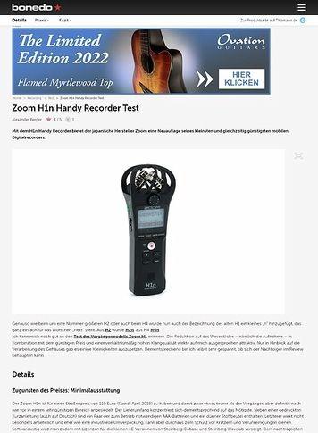 Bonedo.de Zoom H1n Handy Recorder