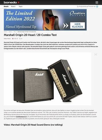 Bonedo.de Marshall Origin 20 Head / 20 Combo