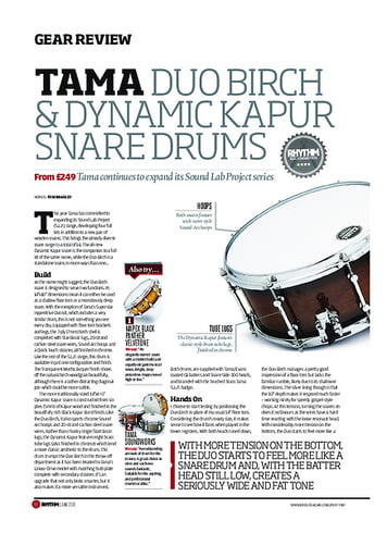 Rhythm Tama Duo Birch and Dynamic Kapur Snare Drums