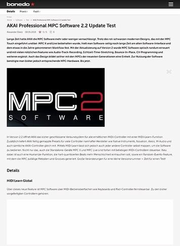 Bonedo.de AKAI Professional MPC Software 2.2 Update