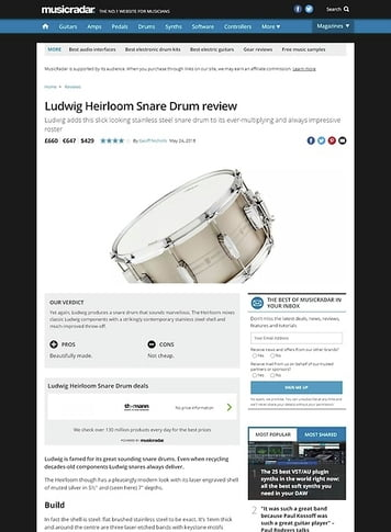 MusicRadar.com Ludwig Heirloom Snare Drum