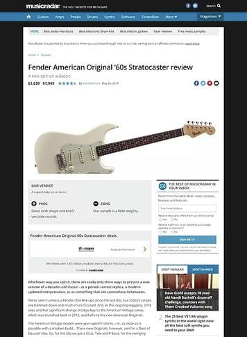 MusicRadar.com Fender American Original '60s Stratocaster