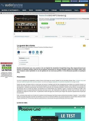 Audiofanzine.com Positive Grid BIAS AMP 2 Standard