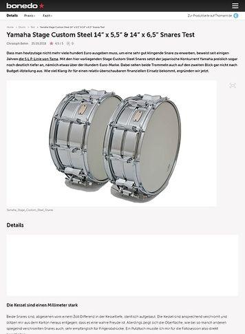 """Bonedo.de Yamaha Stage Custom Steel 14"""" x 5,5"""" & 14"""" x 6,5"""" Snares"""