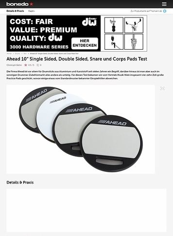 "Bonedo.de Ahead 10"" Single Sided, Double Sided, Snare und Corps Pads"