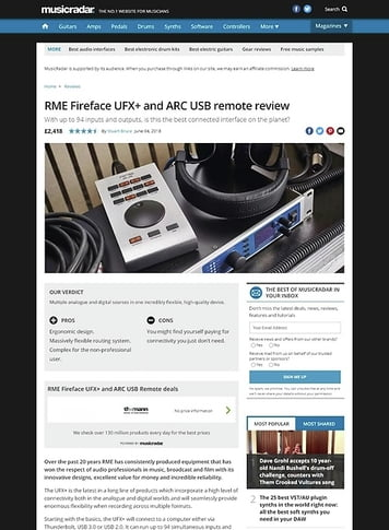 MusicRadar.com RME Fireface UFX+ and ARC USB remote