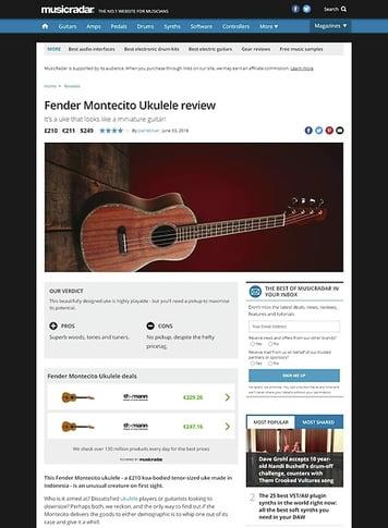 MusicRadar.com Fender Montecito Ukulele