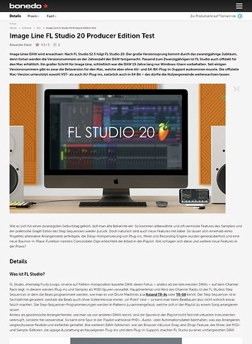 Bonedo.de Image Line FL Studio 20 Producer Edition