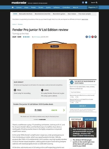MusicRadar.com Fender Pro Junior IV Ltd Edition