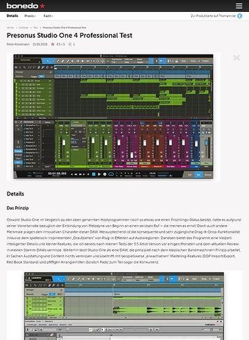 Bonedo.de Presonus Studio One 4 Professional