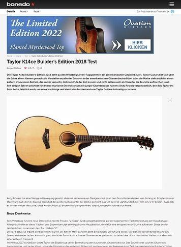 Bonedo.de Taylor K14ce Builder's Edition 2018