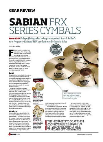 Rhythm Sabian FRX Series Cymbals