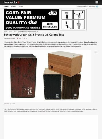 Bonedo.de Schlagwerk Urban OS  und Precise OS Cajons