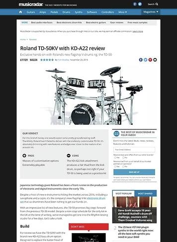 MusicRadar.com Roland TD-50KV with KD-A22