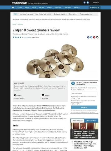 MusicRadar.com Zildjian K Sweet cymbals