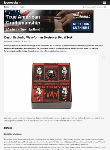 Bonedo.de Death By Audio Waveformer Destroyer Pedal